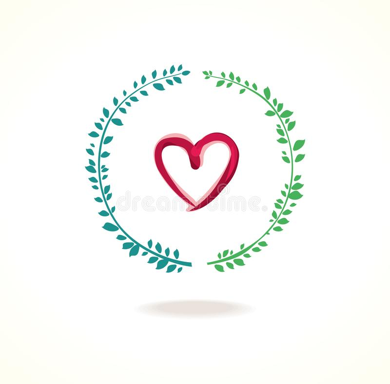 传染媒介心脏和圈子绿色叶子 库存例证