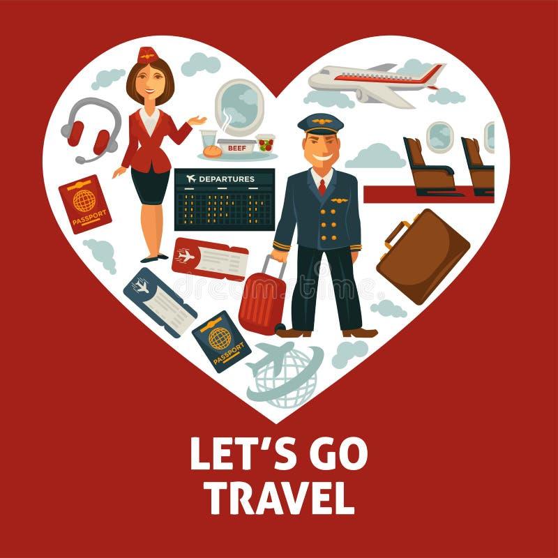 传染媒介心脏和旅行或假期旅行平的象旅行海报  皇族释放例证