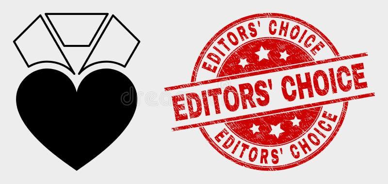 传染媒介心脏奖象和困厄编辑的挑选水印 向量例证