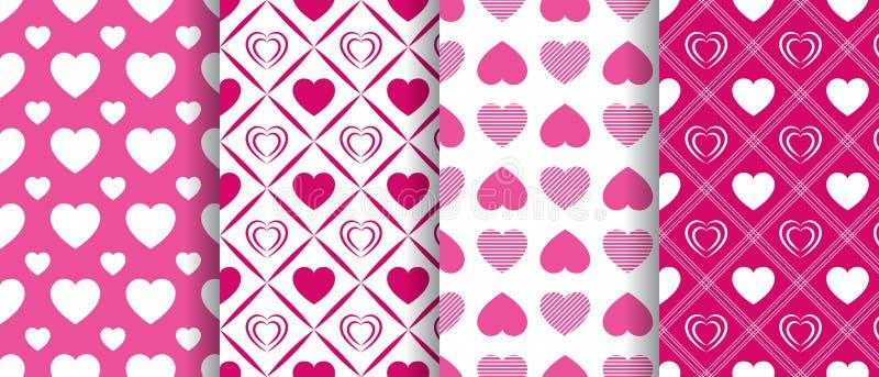 传染媒介心脏无缝的样式收藏 重复的纹理 华伦泰` s被设置的天背景 美好的爱心脏 明亮的粉红色 库存例证