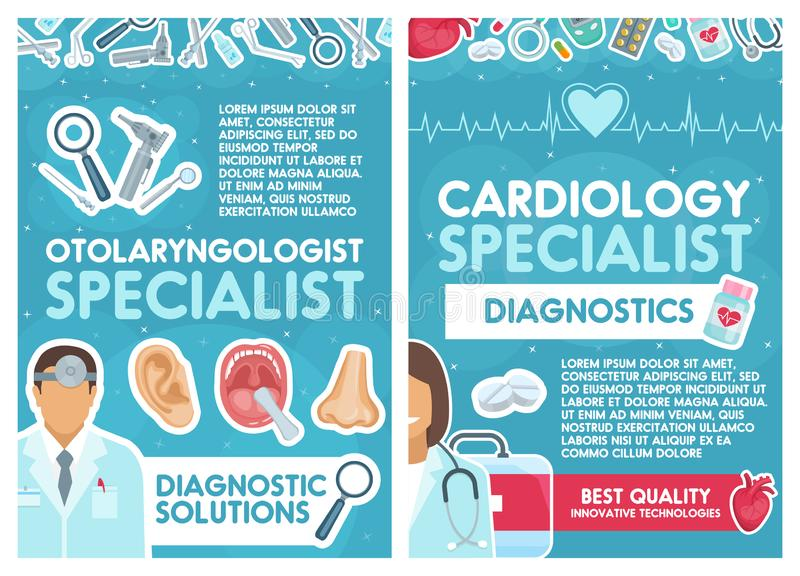 传染媒介心脏病学和耳鼻喉科学医生 向量例证