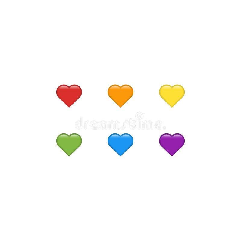 传染媒介心脏象集合 心脏emoji 日愉快的重点s贴纸华伦泰 爱标志华伦泰` s天 设计商标流动应用程序界面卡的元素 向量例证