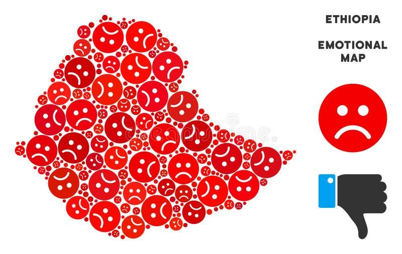 传染媒介悲伤埃塞俄比亚地图结构的哀伤的面带笑容 向量例证