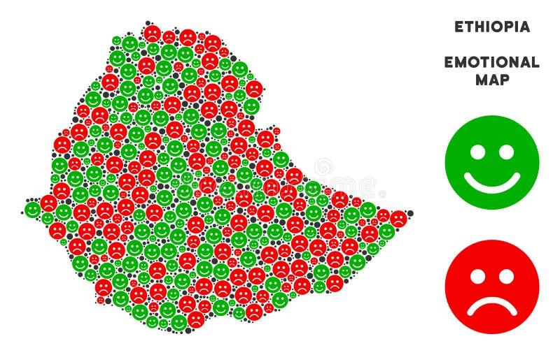 传染媒介情感埃塞俄比亚地图结构的面带笑容 皇族释放例证