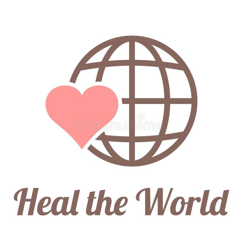 传染媒介愈合世界标志 库存例证