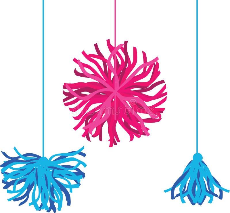 传染媒介愉快的五颜六色的生日聚会Pom Poms集合 伟大为手工制造卡片,邀请,啦啦队员,托儿所设计 向量例证
