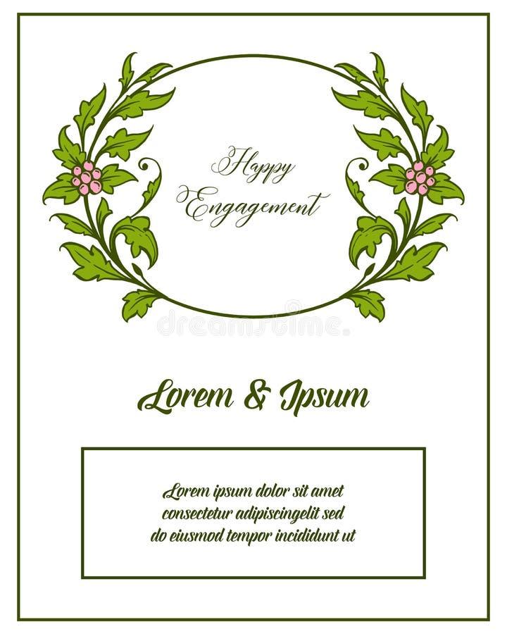传染媒介愉快的订婚例证字法与华丽的花卉框架 皇族释放例证