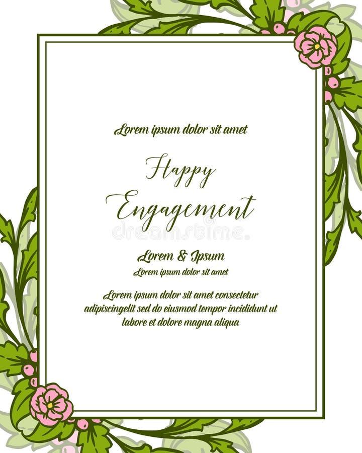 传染媒介愉快的订婚例证字法设计花卉框架的 库存例证