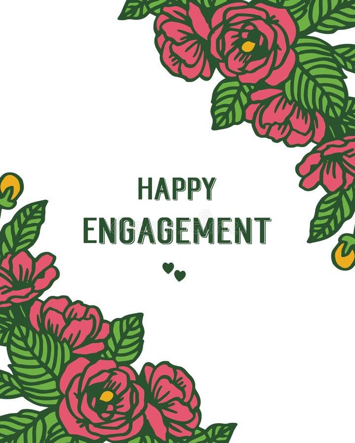 传染媒介愉快的订婚例证花束与设计花圈框架的 向量例证
