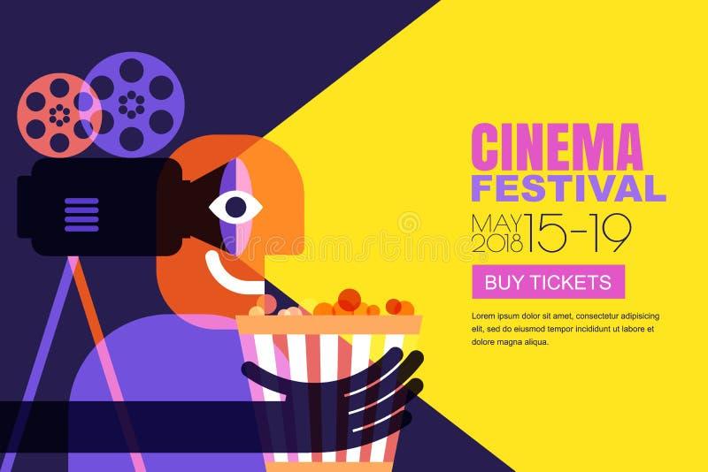 传染媒介戏院节日海报,飞行物背景 销售卖票横幅背景 电影放映时间和娱乐概念 向量例证