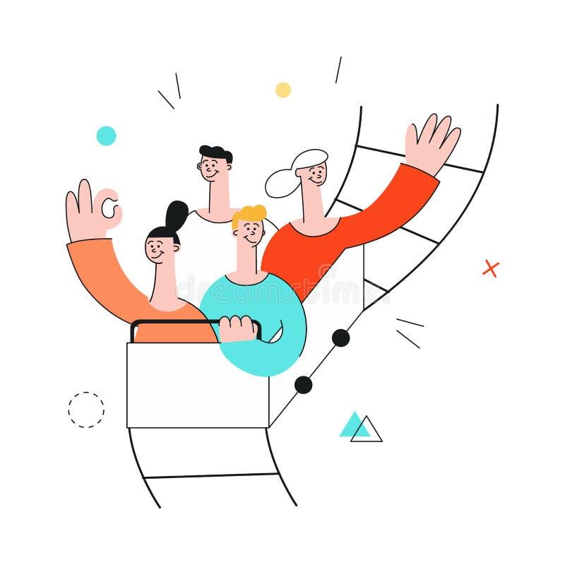 传染媒介成功teambuilding,过山车 库存例证