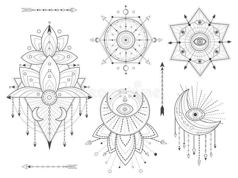 传染媒介成套工具在白色背景的神圣的几何和自然标志 抽象神秘主义者签署汇集 黑线性形状 皇族释放例证