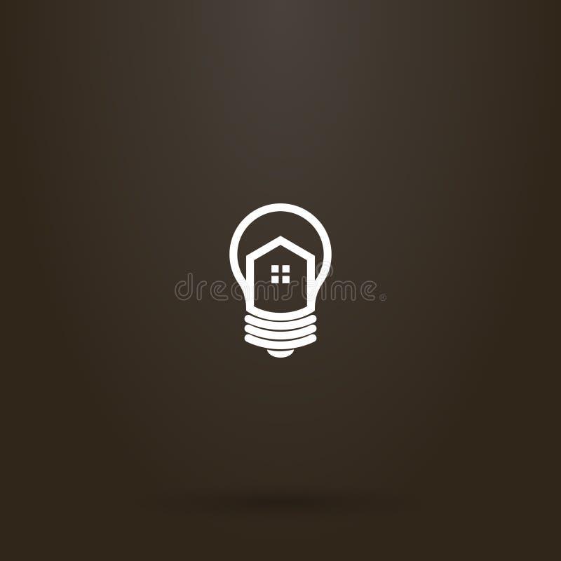 传染媒介房子线艺术标志一个电灯泡的 库存例证