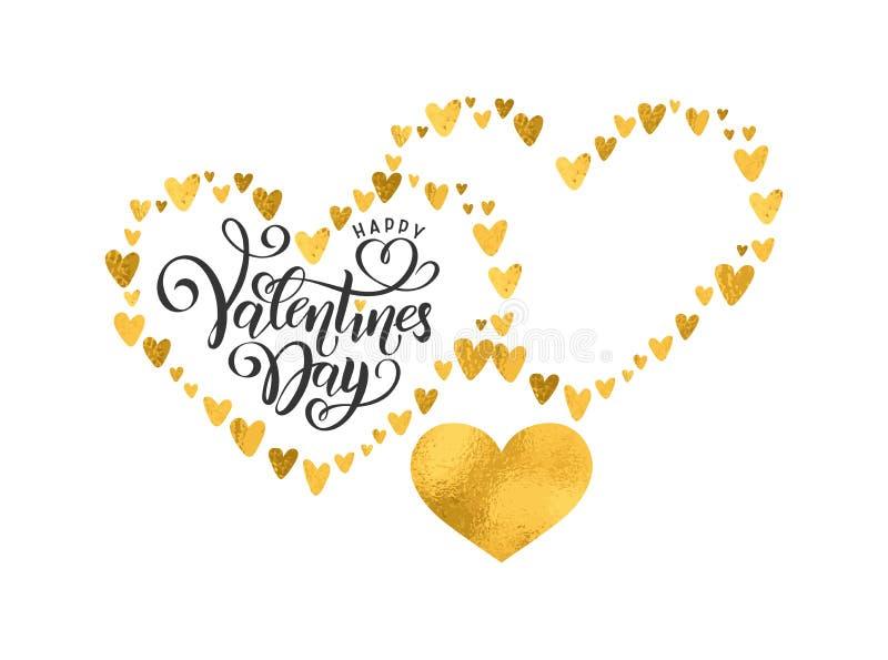 传染媒介手写的在上写字的愉快的情人节 名字文本的空的形状 情人节心脏金黄箔样式 向量例证