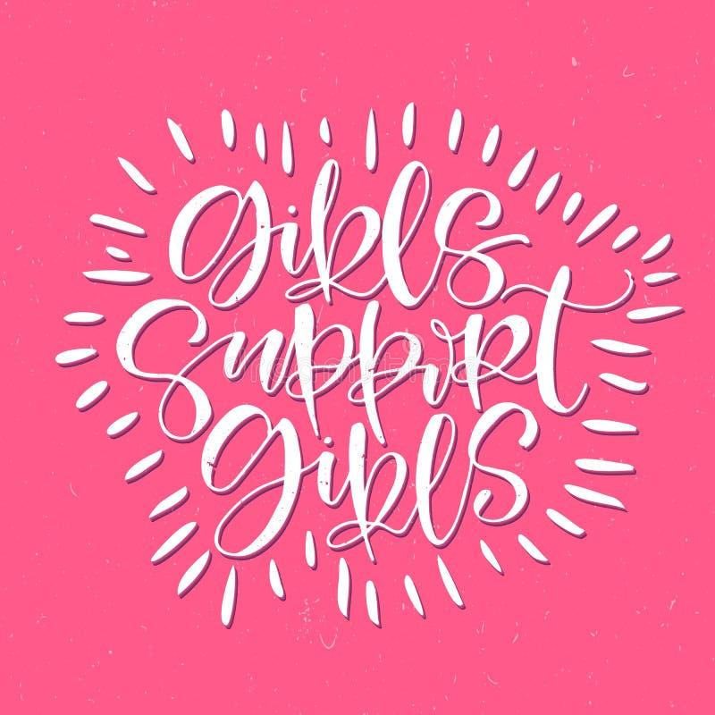 传染媒介手写的词组女孩支持女孩 在桃红色逗人喜爱的背景的白色信件 刷子字法 海报,印刷品 向量例证