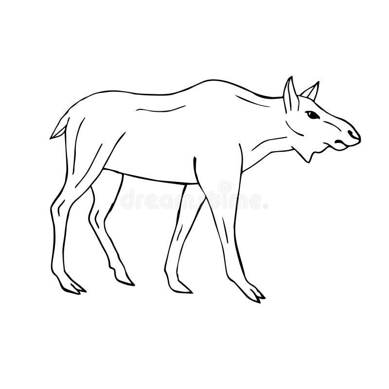 传染媒介手拉的乱画剪影母麋母牛 向量例证