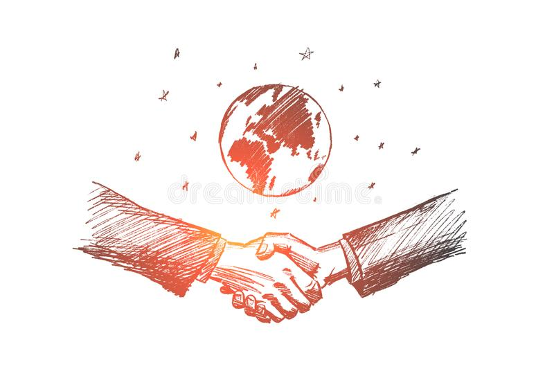 传染媒介手拉的国际企业概念剪影 向量例证