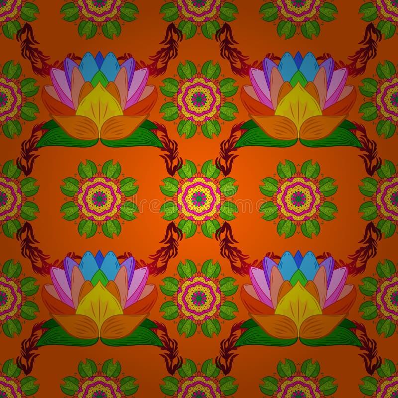 传染媒介手拉的坛场,在一种桔子,绿色和黄色颜色的色的抽象样式 库存例证
