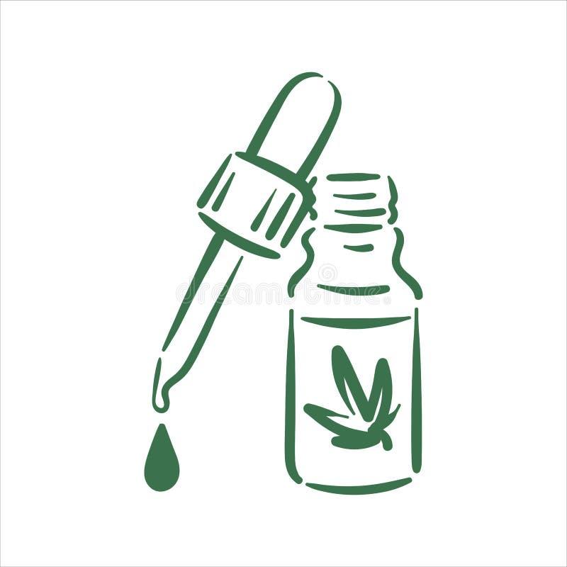 传染媒介手拉的大麻投下在白色背景的例证 皇族释放例证