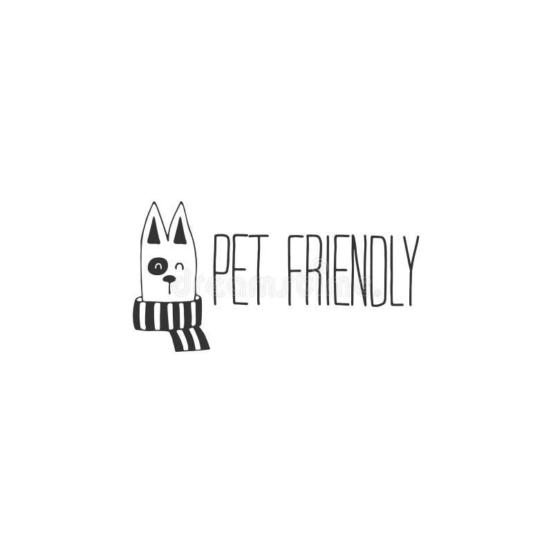 传染媒介手拉的宠物友好的标志,狗的头 向量例证