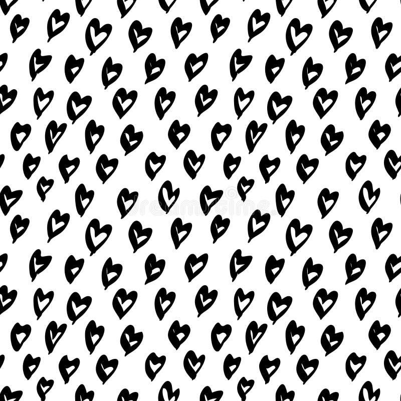 传染媒介手拉的有机无缝的样式 黑色乱画在白色背景的概述 库存例证