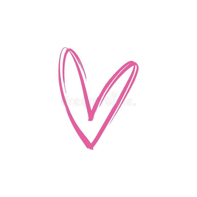 传染媒介手拉的桃红色线心脏例证 背景爱红色玫瑰色符号白色 向量例证