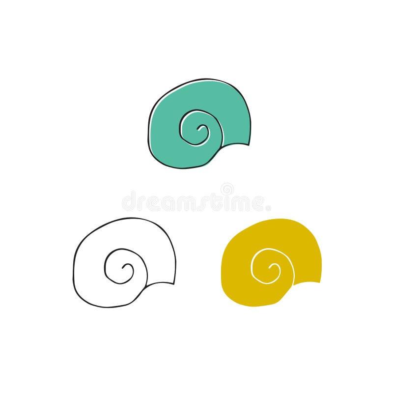 传染媒介手拉的海壳 被隔绝的单独对象 库存例证