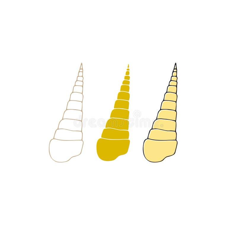 传染媒介手拉的海壳 被隔绝的各自的对象 库存例证