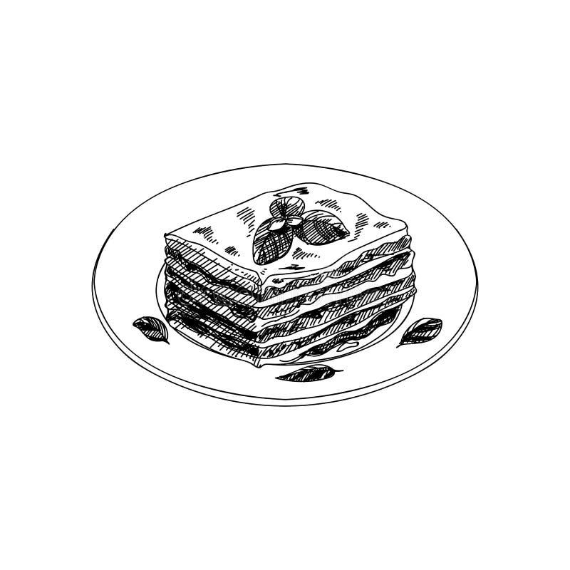 传染媒介手拉的烤宽面条 意大利烹调盘  库存例证
