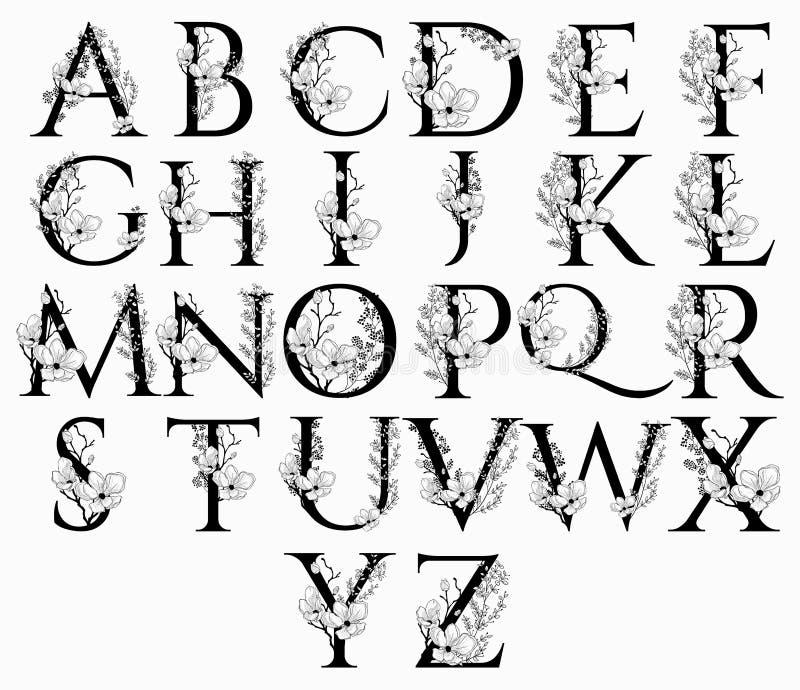 传染媒介手拉的花卉字母表在组合图案上写字 皇族释放例证