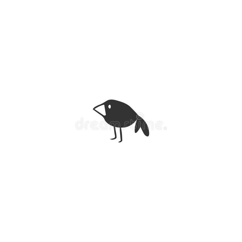 传染媒介手拉的象 黑鸟、智慧的乌鸦、标志和求知欲 向量例证