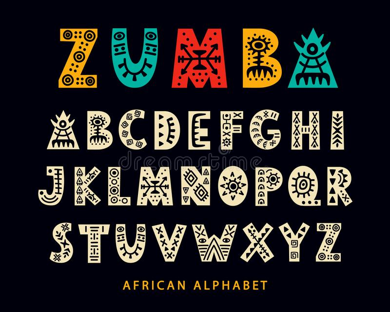 传染媒介手拉的非洲部族字体 民间斯堪的纳维亚剧本 库存例证