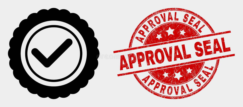 传染媒介批准封印象和困厄认同封印水印 库存例证