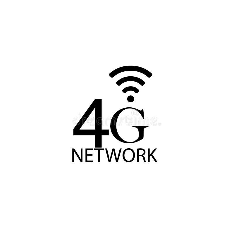 传染媒介技术象网络标志4G 例证4g在平的线简单派样式的互联网标志 - 传染媒介-传染媒介 向量例证