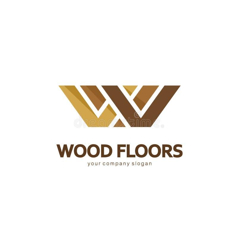 传染媒介抽象商标模板 木条地板的,层压制品,地板,瓦片商标设计 难倒木头 皇族释放例证