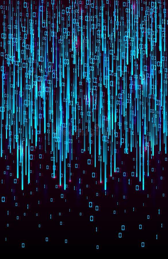 传染媒介抽象大数据形象化 数据蓝色流程作为矩阵编码串 库存图片