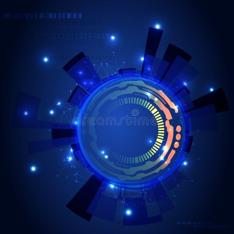 传染媒介抽象未来派电路板 数字式流程,数字式螺旋,例证 向量例证