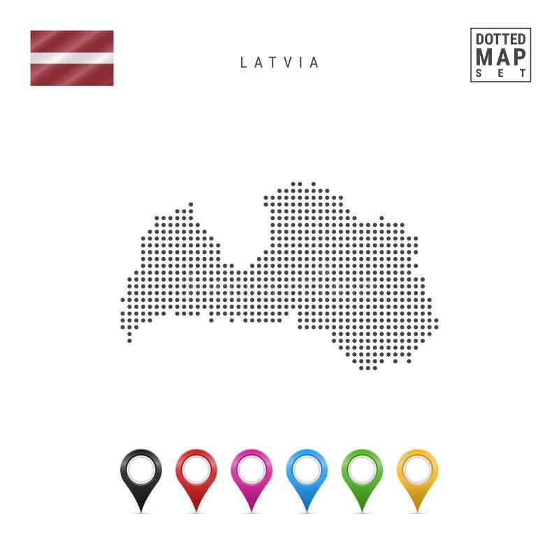 传染媒介拉脱维亚的被加点的地图 拉脱维亚的简单的剪影 拉脱维亚的国旗 套多彩多姿的地图标志 库存例证