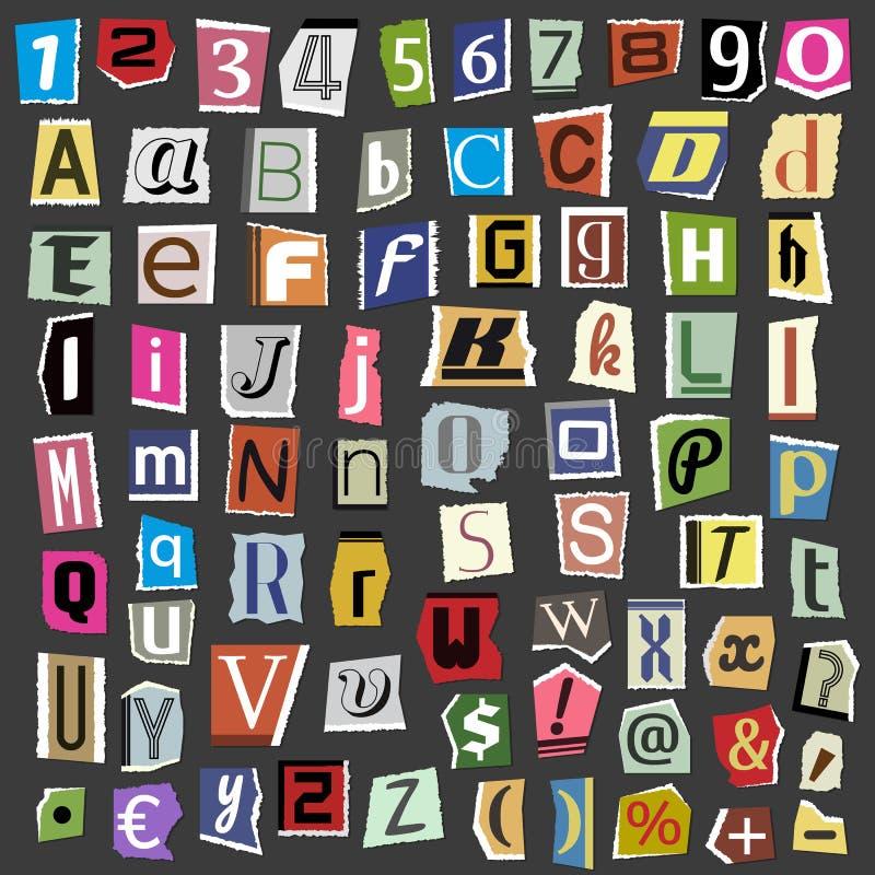 传染媒介拼贴画由报纸杂志abc纸文本做的字母表信件削减了类型印刷术标志例证 皇族释放例证