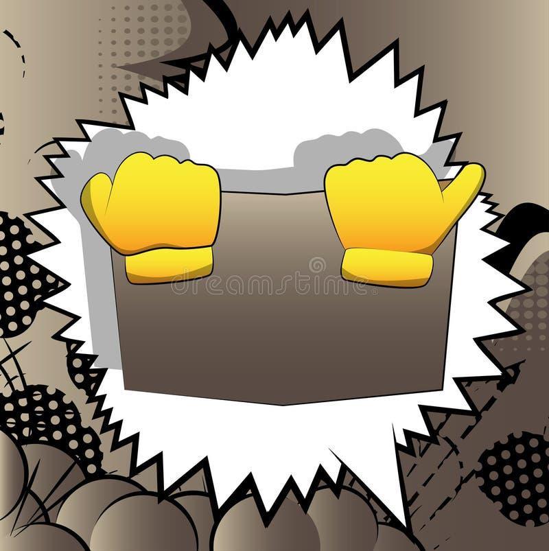 传染媒介拿着书的动画片手,掩藏在它后 库存例证