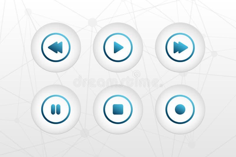 传染媒介按钮标志 演奏,停止,倒带,今后,停留,纪录在三角摘要backgound的圈子标志 音频的象 向量例证