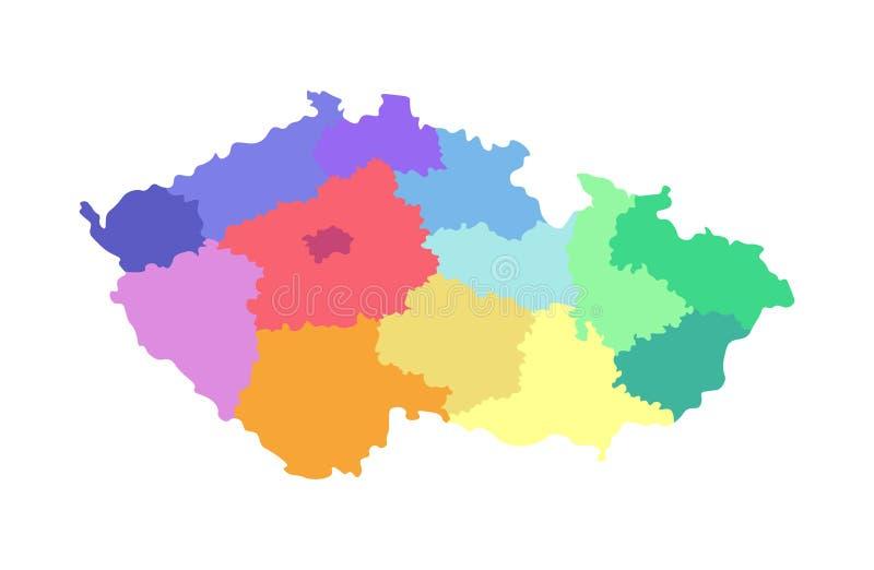 传染媒介捷克的被简化的后勤情况图的被隔绝的例证 地区的边界 色的多 皇族释放例证