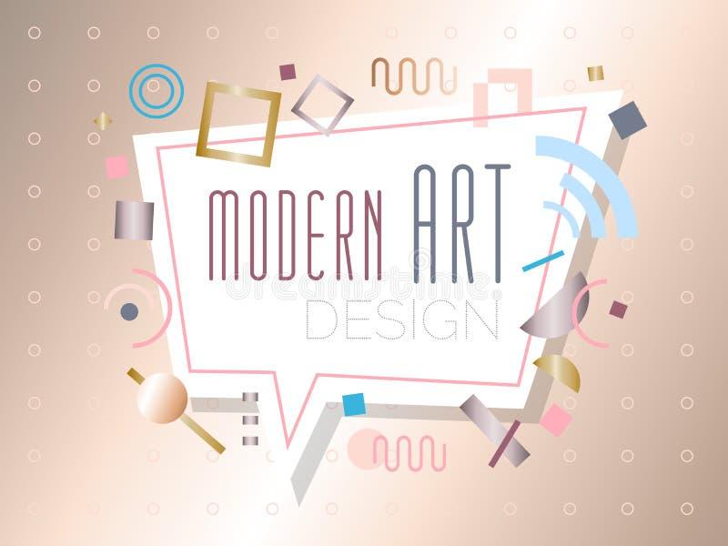 传染媒介摘要几何动态样式金黄框架现代美术设计 向量例证