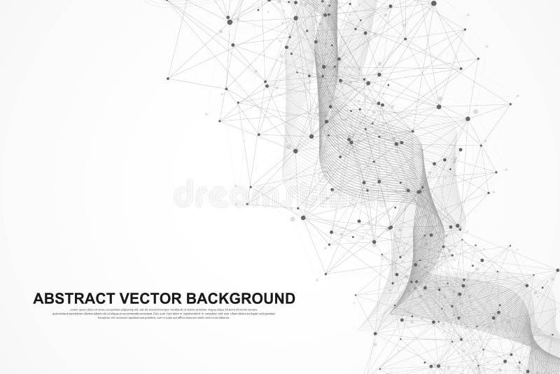 传染媒介摘要大数据形象化 复杂数据穿线图表 抽象向量图形 E 库存例证
