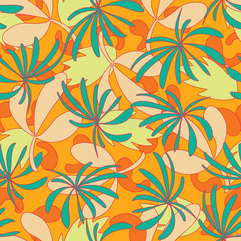 传染媒介摘要热带叶子无缝的样式背景 皇族释放例证
