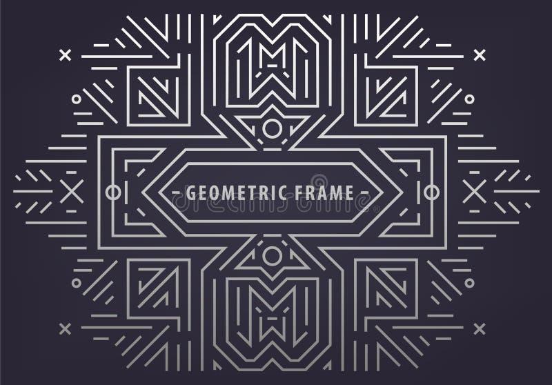 传染媒介摘要组合图案几何框架,葡萄酒线性银色背景 艺术装饰边界 时髦盖子,图表 库存例证