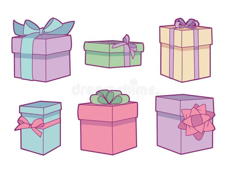 传染媒介收藏设置用不同的淡色色的生日礼物箱子 向量例证