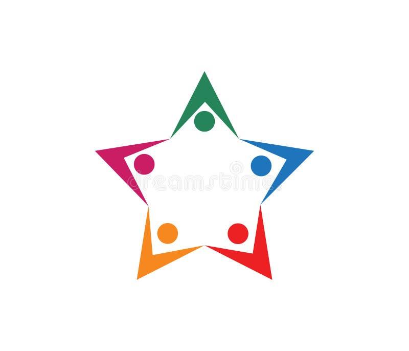传染媒介教育的孩子的商标设计,社区组织,体育竞赛,合作团结家庭,领导 皇族释放例证