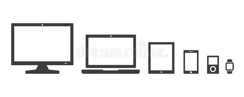 传染媒介数字在白色背景隔绝的设备象 向量例证