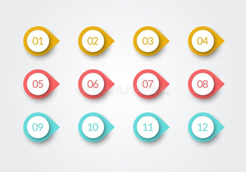 传染媒介数字子弹点减速火箭的颜色3d标志1到12 向量例证